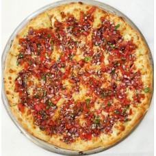 Хачапури с томатами, базиликом и красным луком